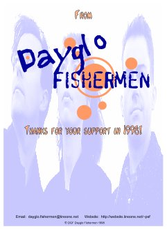 Dayglo Fishermen - Christmas Card Inside Greeting 1998