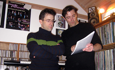 Peter Fothergill and Richard Burton prepare for a master mix